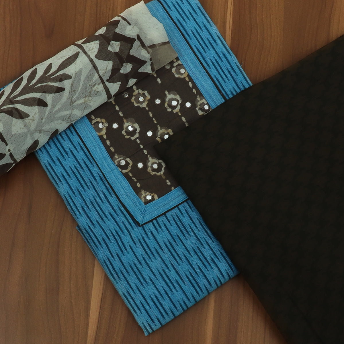 Dress Material -Sky Blue and Black with Chiffon dupatta