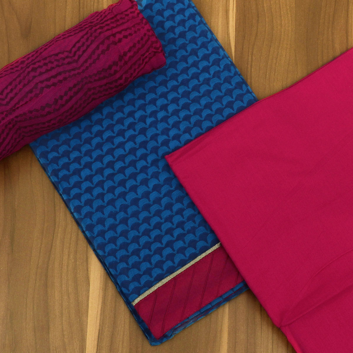 Dress Material -Dark Sky Blue and Pink Shade with Chiffon dupatta