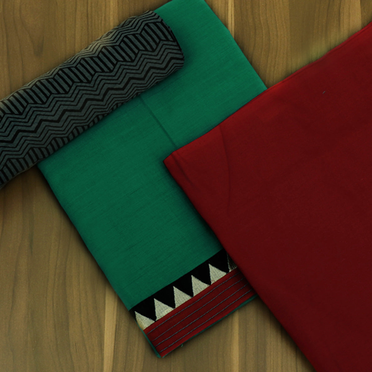 Dress Material -Green and Red with Chiffon dupatta