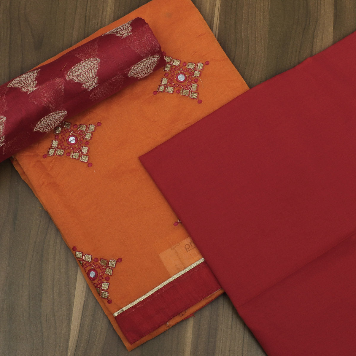 Dress Material -Orange and Red with Embroidery and Banarasi dupatta