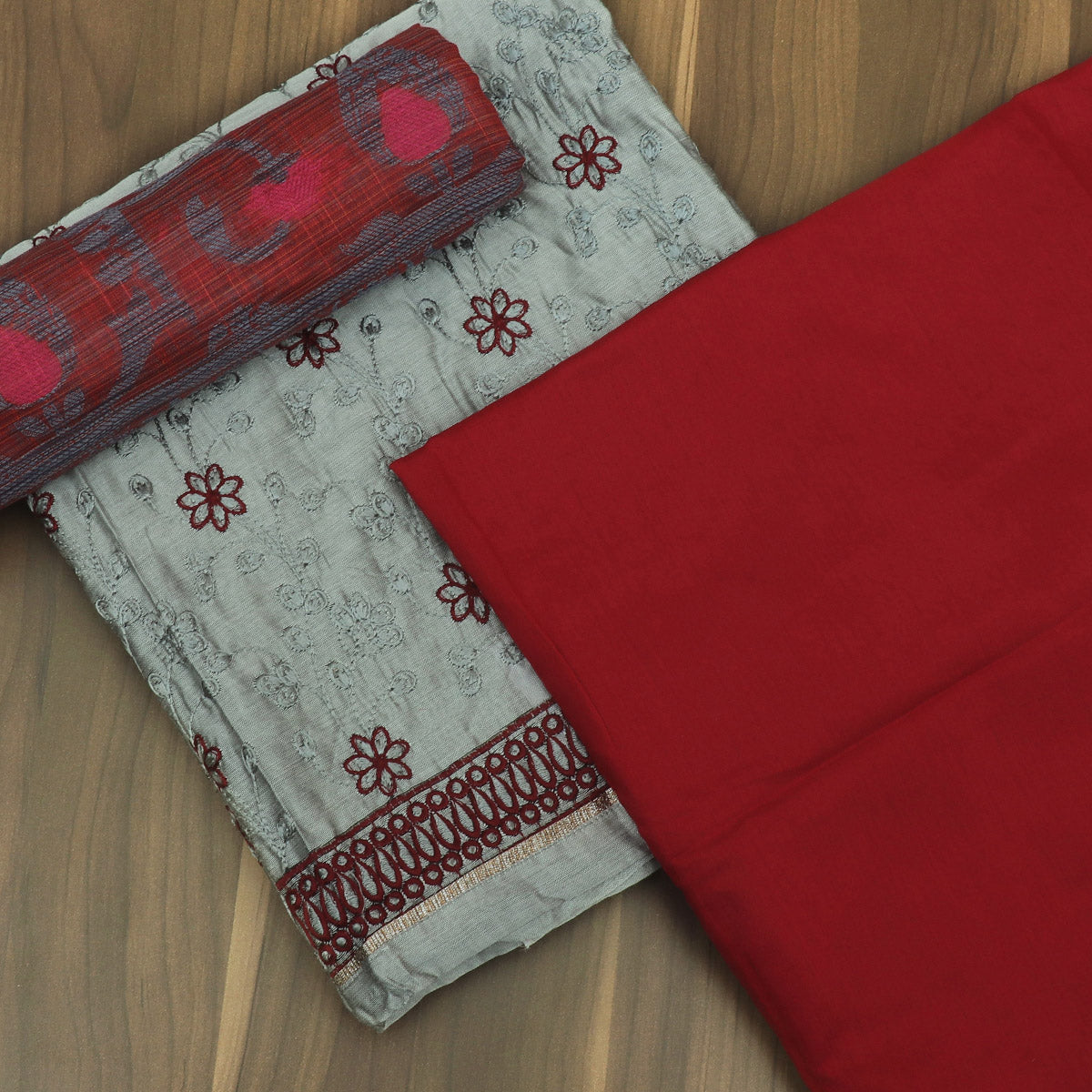Dress Material Grey and Maroon with Embroidery and chanderi dupatta for Rs.Rs. 1850.00 | Dress Materials by Prashanti Sarees