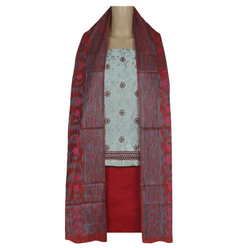 Dress Material Grey and Maroon with Embroidery and chanderi dupatta