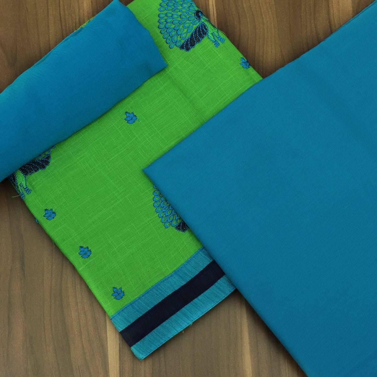 Dress Material Parrot Green and Sky Blue with Embroidery and Chiffon dupatta