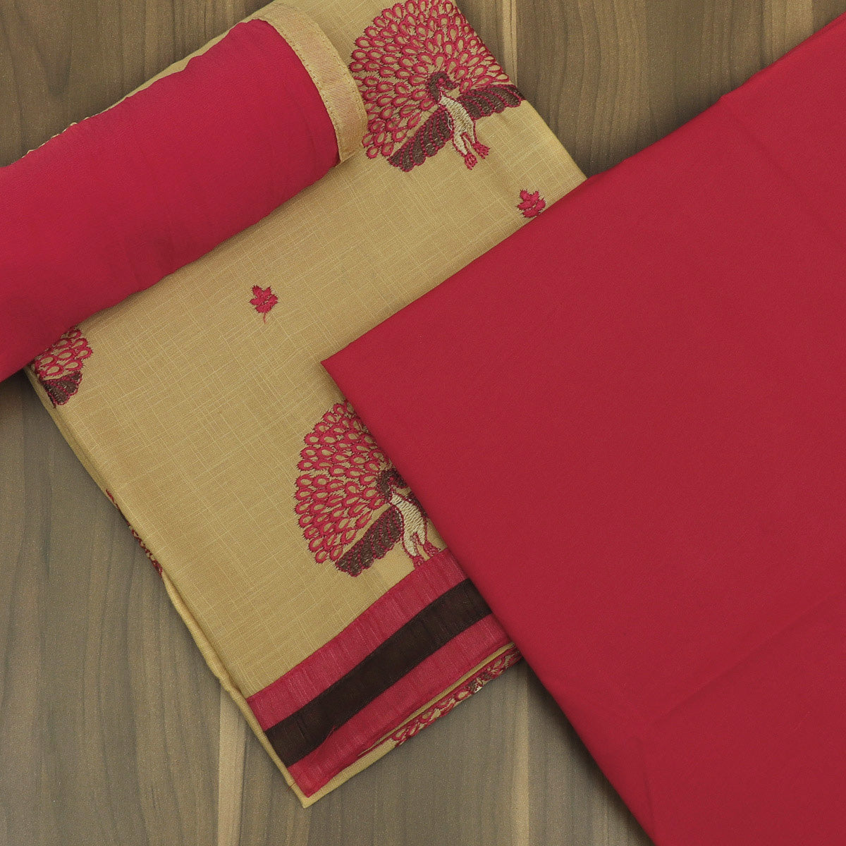 Dress Material Chikoo and Red with Embroidery and Chiffon dupatta