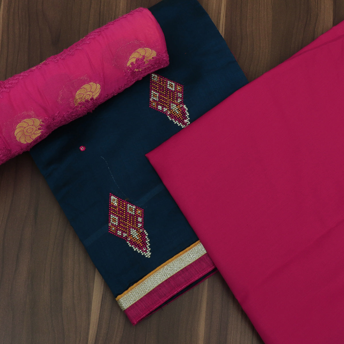 Dress Material Peacock Blue and Pink with Embroidery and Chiffon dupatta