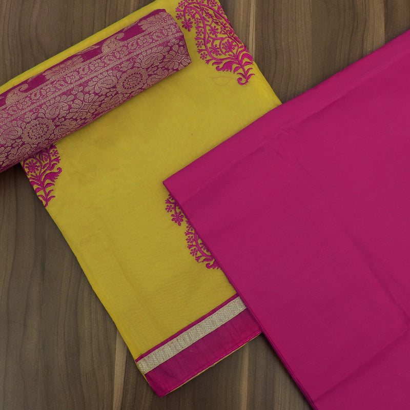 Dress Material Lime Yellow and Pink with Thread and Banarasi dupatta