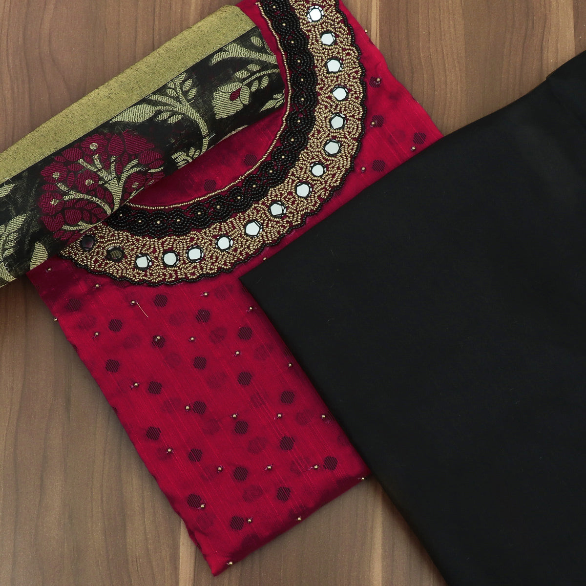 Dress Material Red and Black with Embroidery and Banarasi dupatta