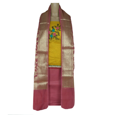 Dress Material Yellow and Pink with Embroidery and Banarasi dupatta for Rs.Rs. 1390.00 | Dress Materials by Prashanti Sarees