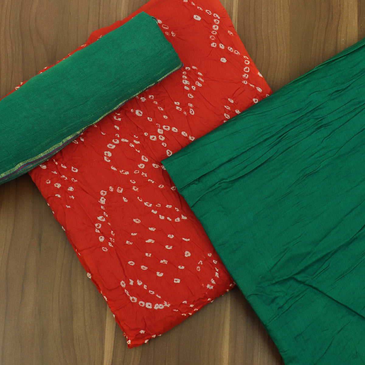 Dress Material Orange and Green with Cotton dupatta