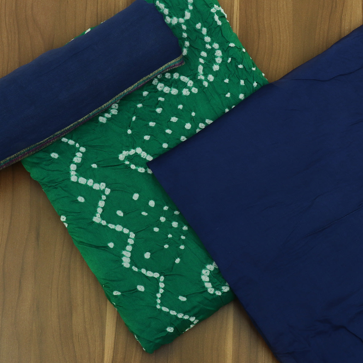 Dress Material Green and Blue with Cotton dupatta