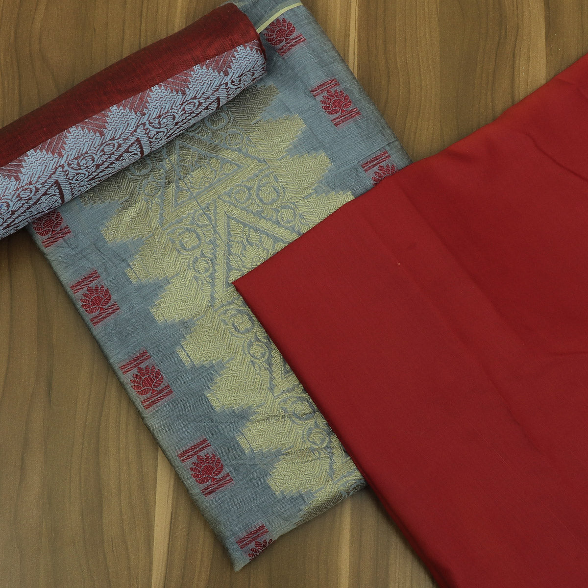 Dress Material Grey and Maroon with Cotton dupatta