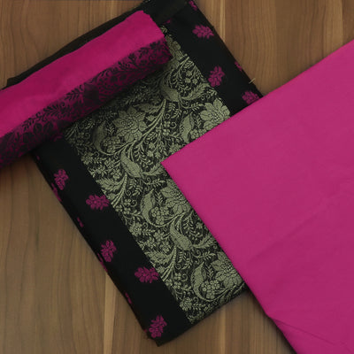 Dress Material Black and Pink with Cotton dupatta