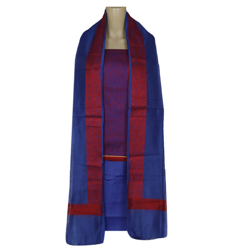 Dress Material Red and Blue with Cotton dupatta