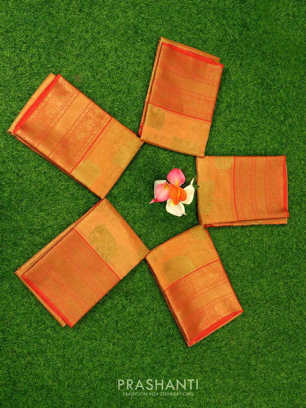 Banarasi kora tissue saree pinkish orange with zari buttas and long zari border ( Pack of 5 )