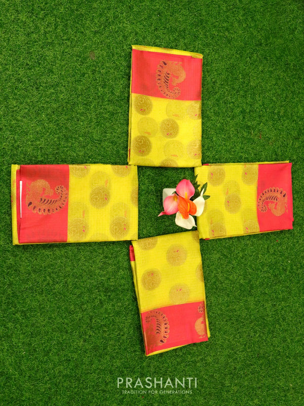 Banarasi kora tissue saree yellow and pink with zari buttas and butta border ( Pack of 4 )