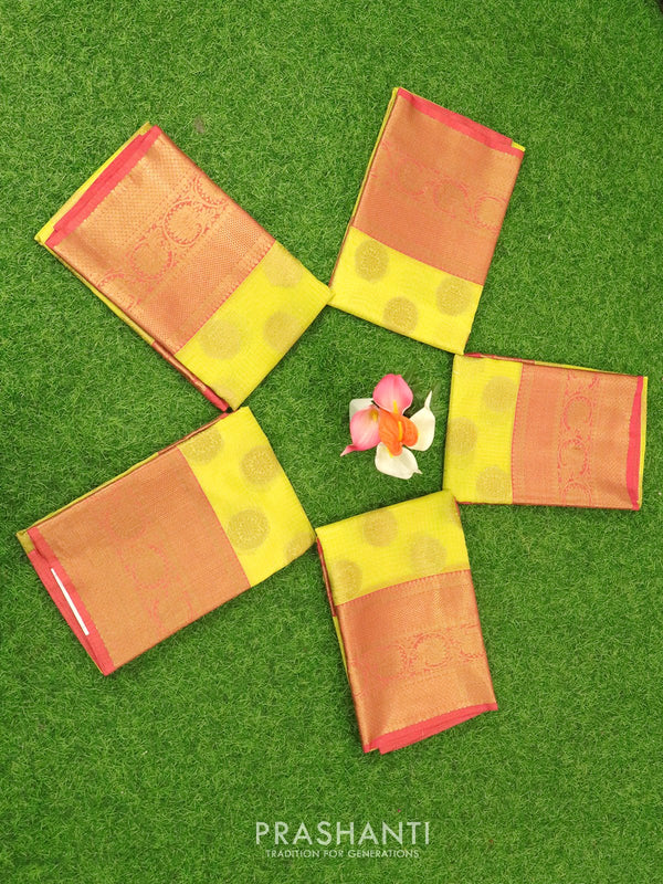 Banarasi kora tissue saree lime yellow and pink with zari buttas and butta border ( Pack of 5 )