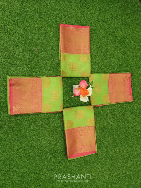 Banarasi kora tissue saree green and pink with zari buttas and zari border ( Pack of 4 )