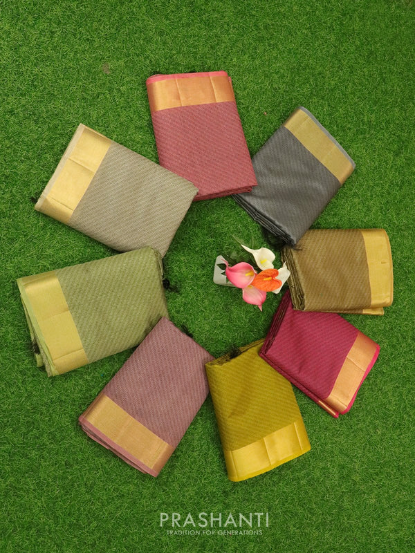 Semi raw silk saree assorted colours with thread weaves and zari woven border ( Pack of 8 )