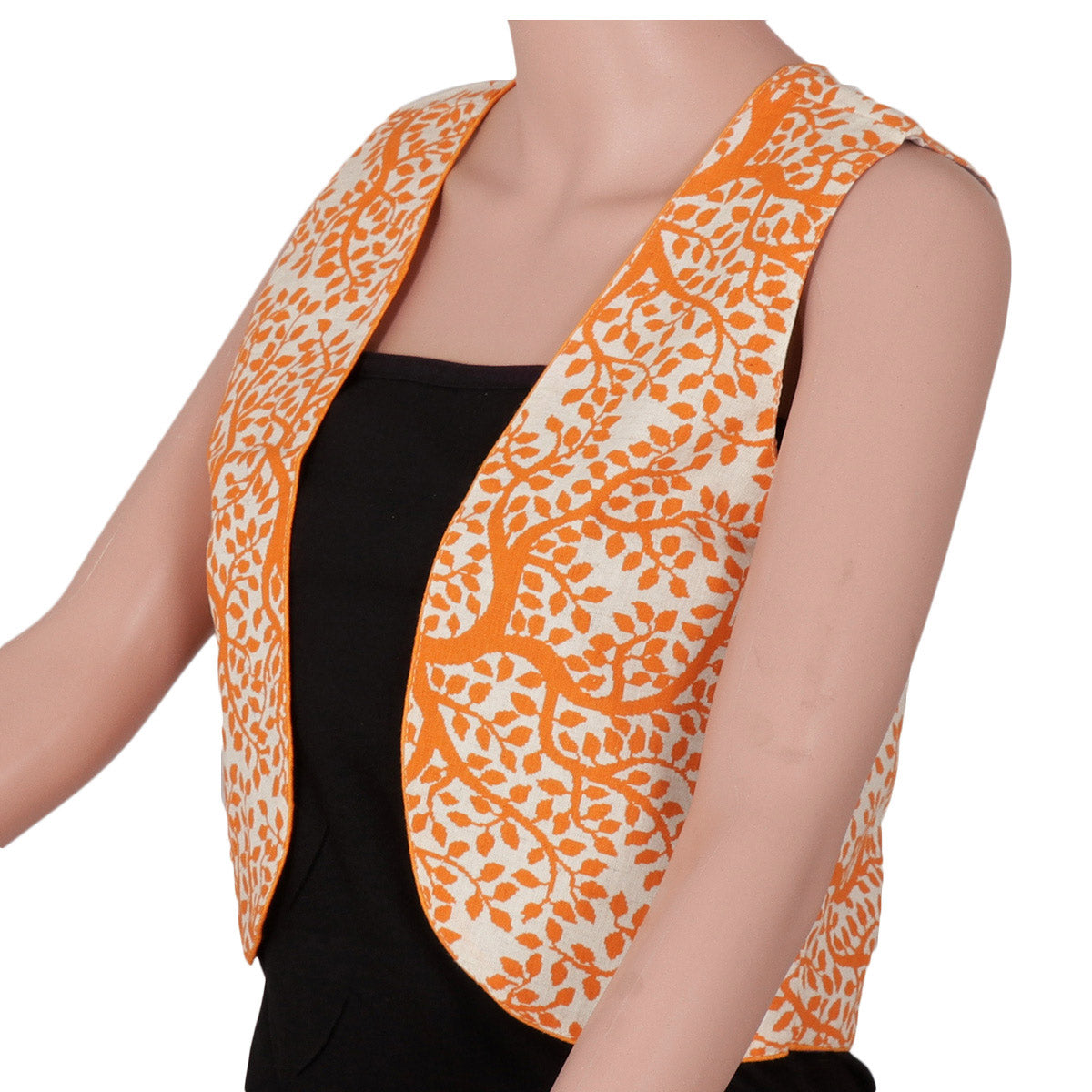 Cotton jacket Beige and Orange with leaf design
