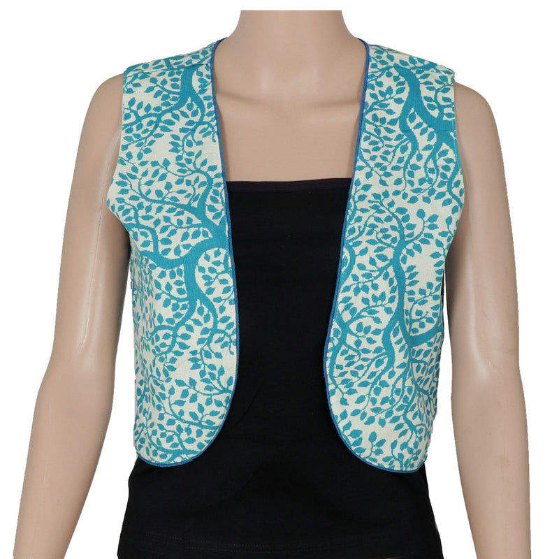 Cotton jacket Beige and Blue with leaf design