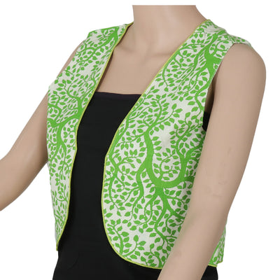 Cotton jacket Beige and Green with leaf design