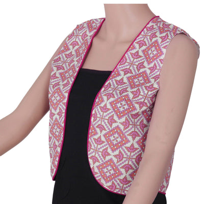 Cotton jacket Beige and Light Pink with ikkat design for Rs.Rs. 400.00 | Jackets by Prashanti Sarees