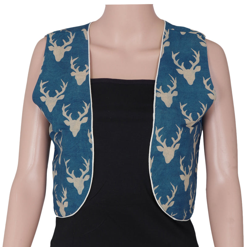 Kalamkari Cotton jacket Blue with deer design for Rs.Rs. 400.00 | Jackets by Prashanti Sarees