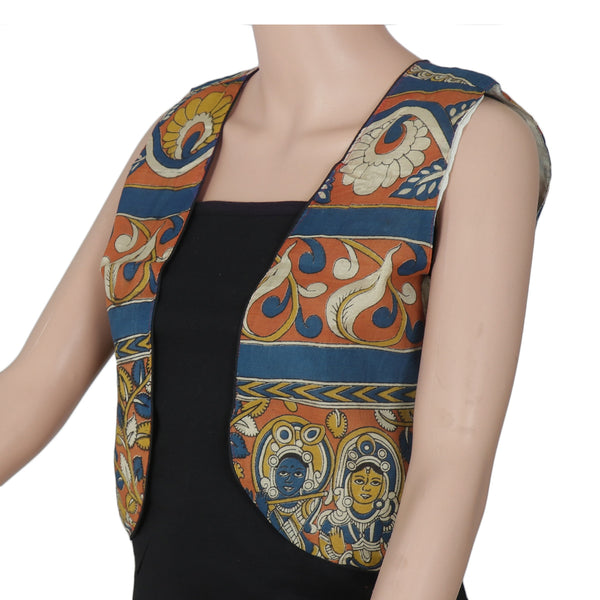 Semi Silk Kalamkari jacket Blue and Brown with traditional design