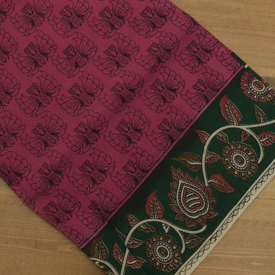 Semi Silk Pure Kalamkari Saree Pink and Green with Floral border