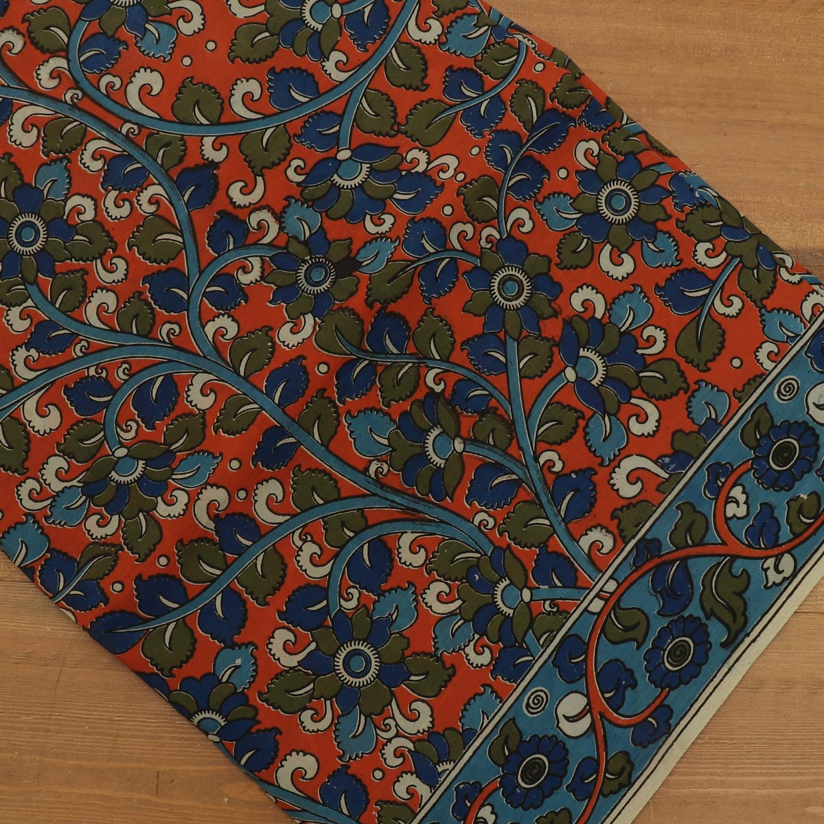 Semi Silk Pure Kalamkari Saree Orange and Blue with Floral border