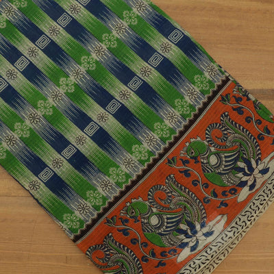 Kotta kalamkari Cotton Saree Green and Orange with Annapakshi border