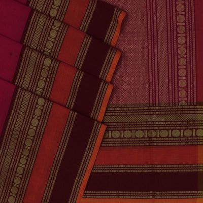 Handloom cotton with butta pink and mustard with coin thread border