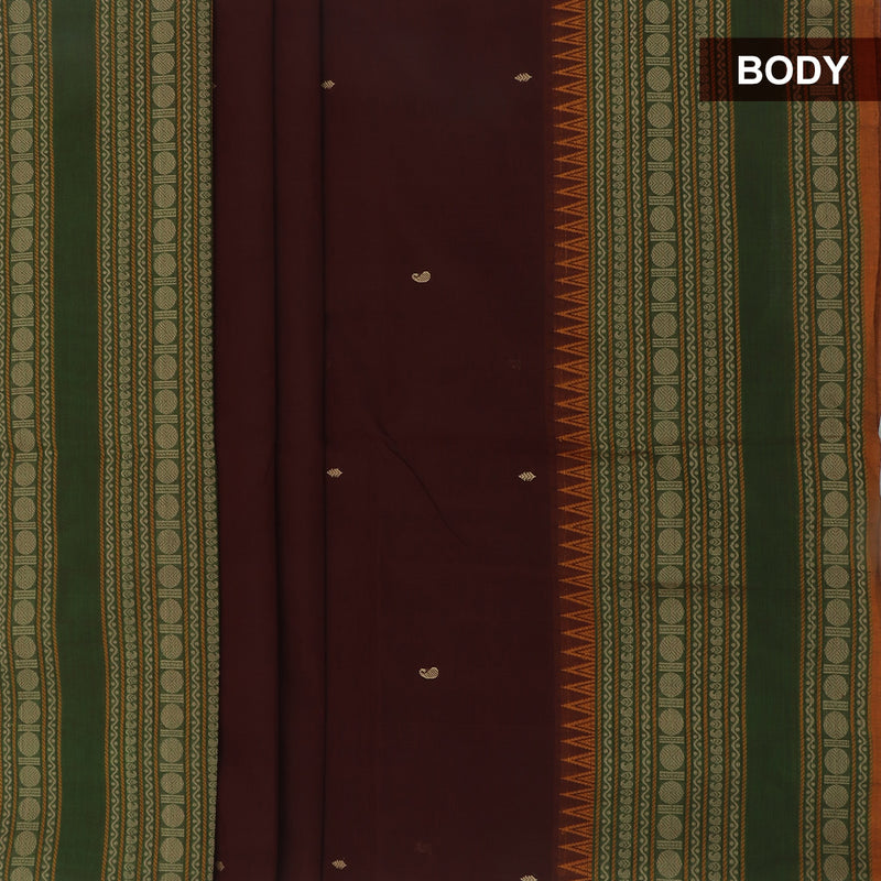 Handloom cotton with butta Brown and Green with coin thread border