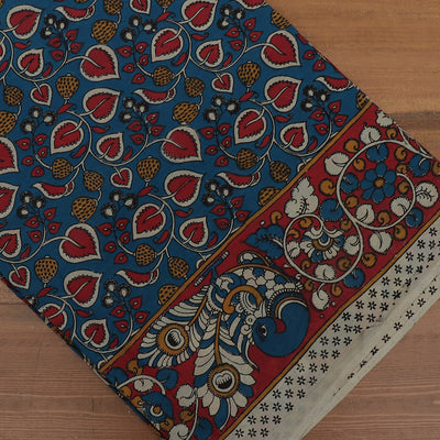 Semi Silk Pure Kalamkari Saree Blue and Maroon with Peacock border