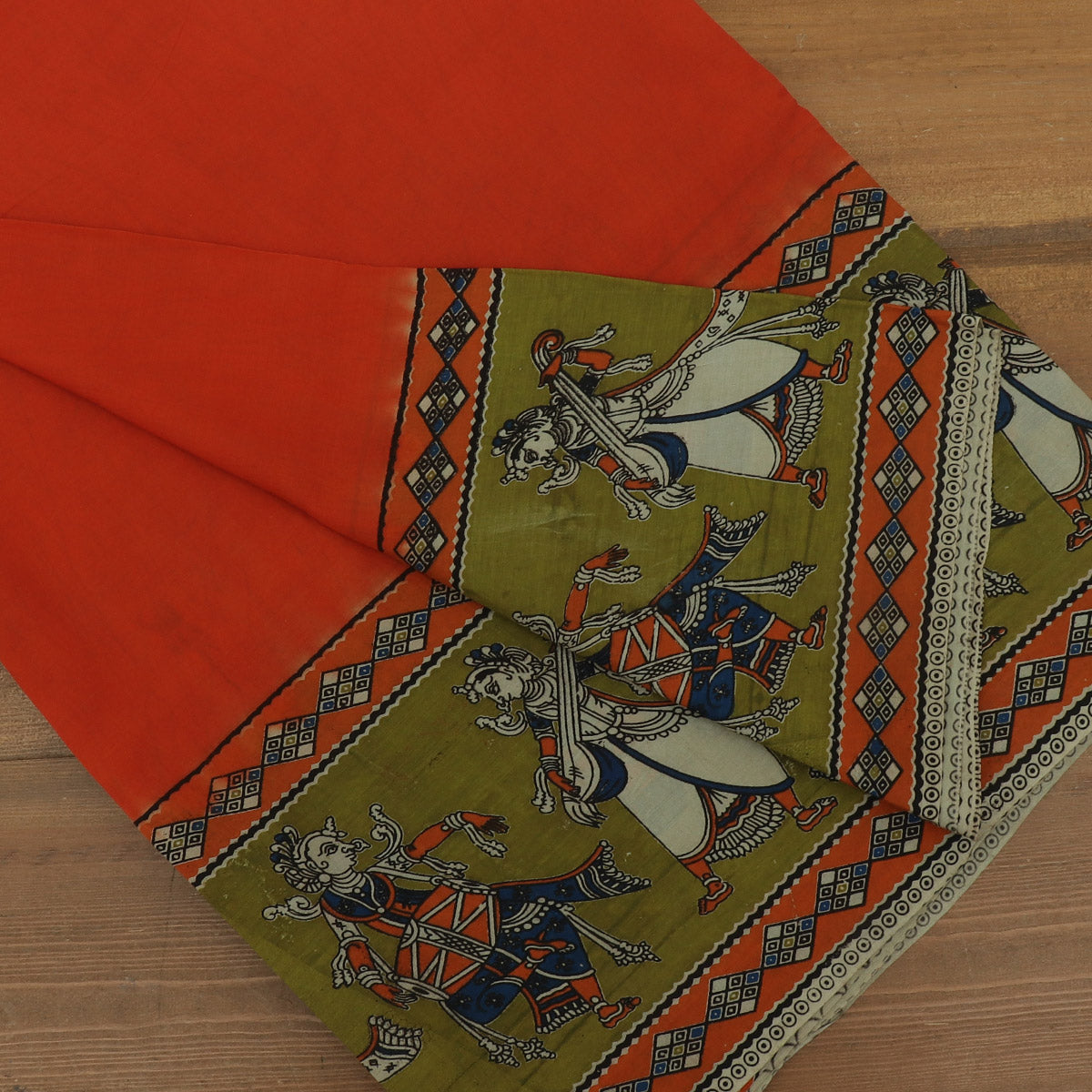 Semi Silk Pure Kalamkari Saree Orange and Green with Traditional border