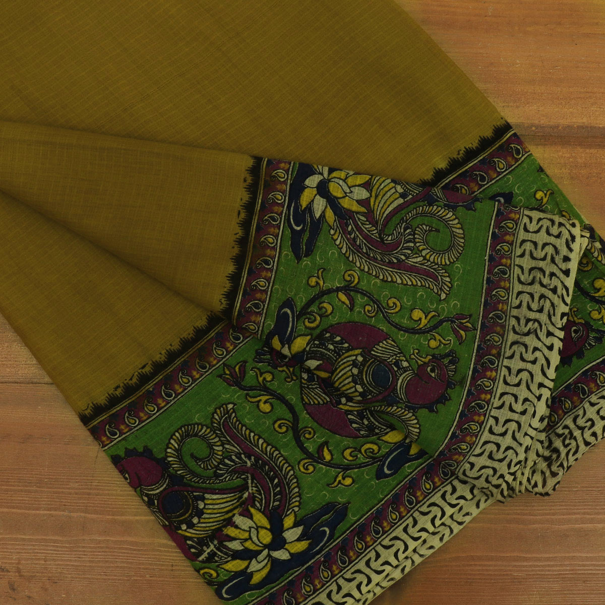 Kotta kalamkari Cotton Saree Dark Green and Green with Annam border