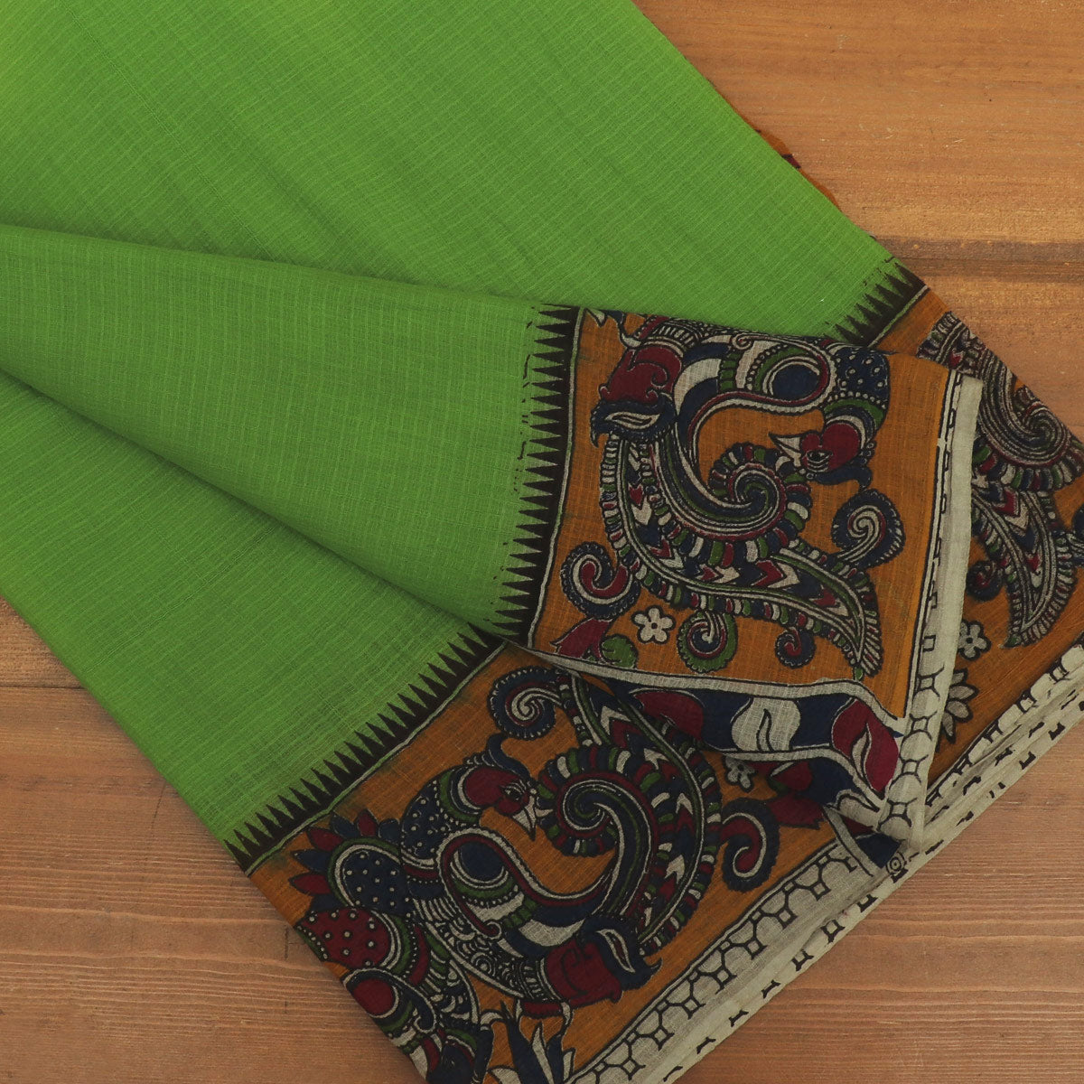 Kotta kalamkari Cotton Saree Parrot Green and dark Mustard with Annam border