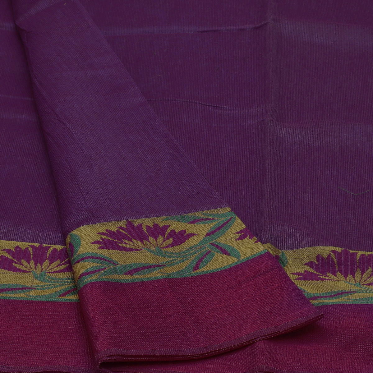 Kota Cotton Saree Lavender and Yellow with Floral Design Border and Blouse
