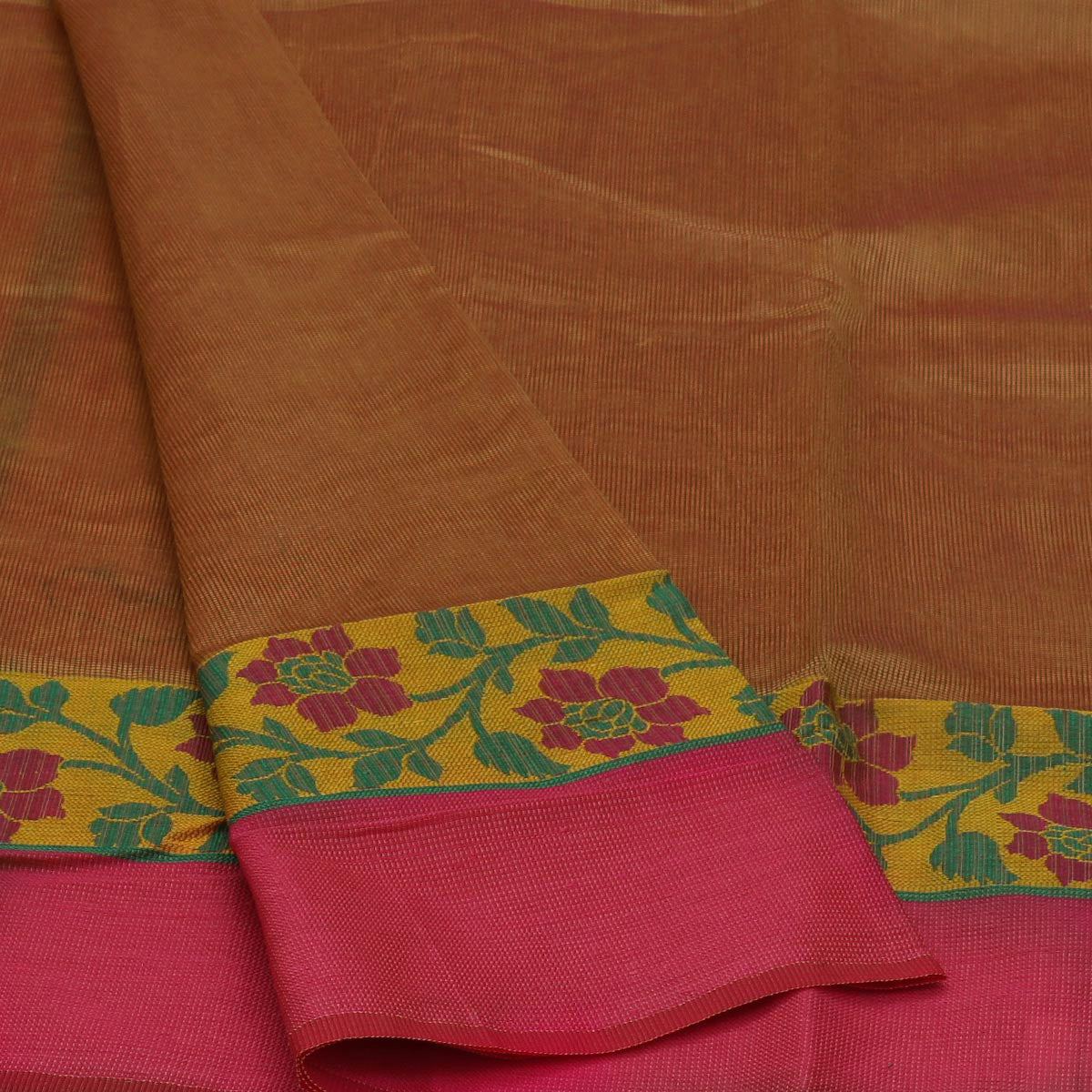Kota Cotton Saree Orange Shade and Yellow with Floral Design Border and Blouse