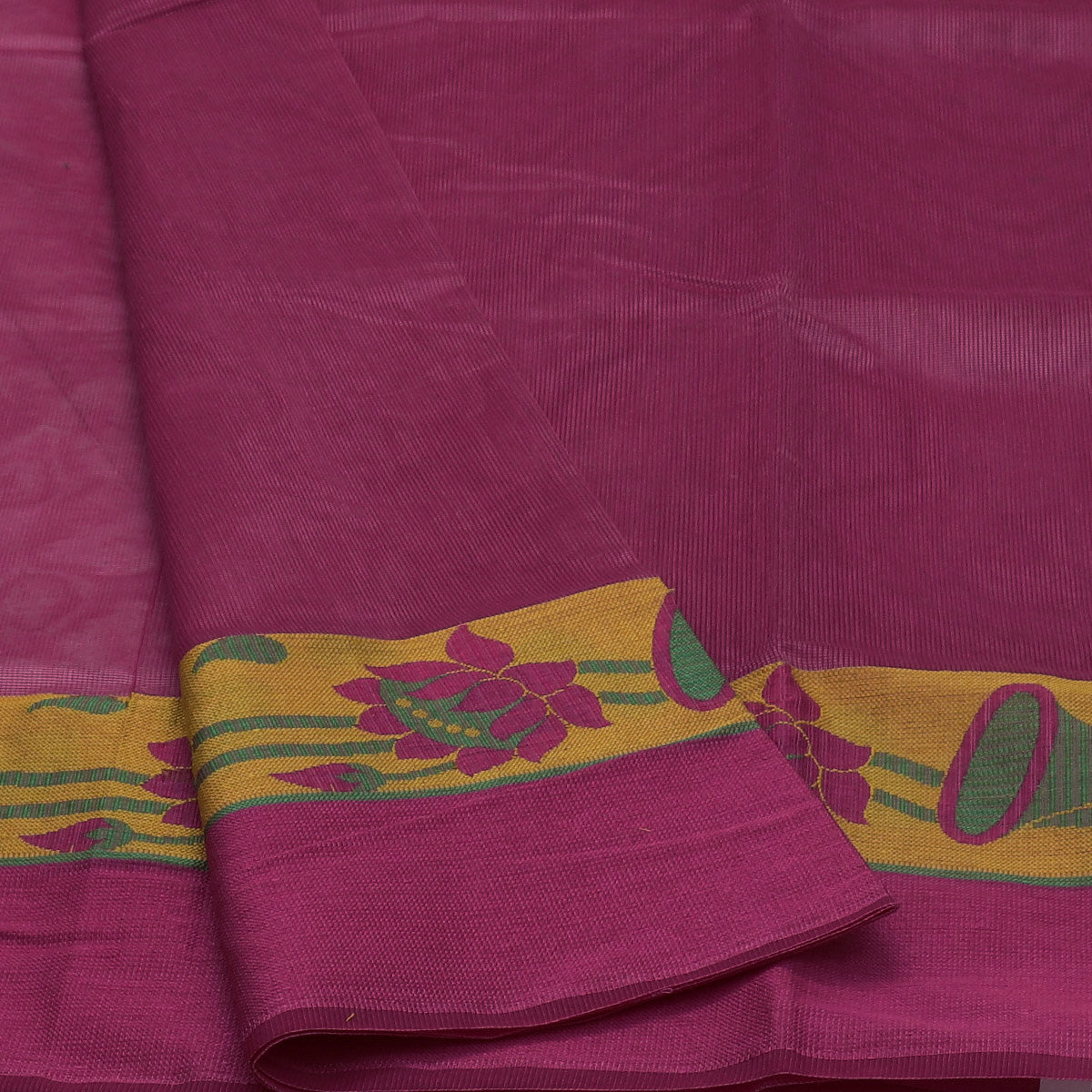 Kota Cotton Saree Pink Shade and Yellow with Floral Design Border and Blouse