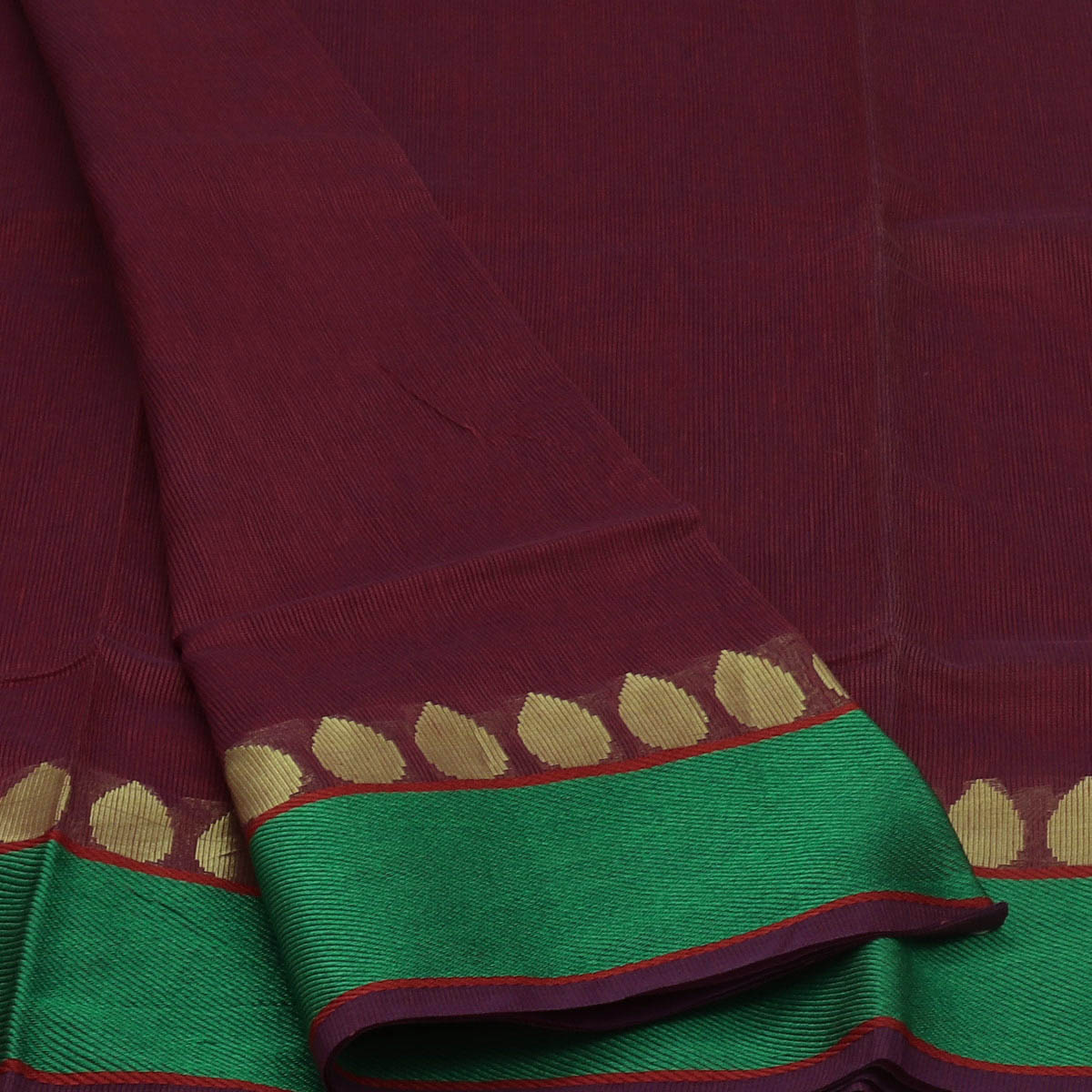 Kota Cotton Saree Maroon with Purple Lines and Green with Buds Zari Border
