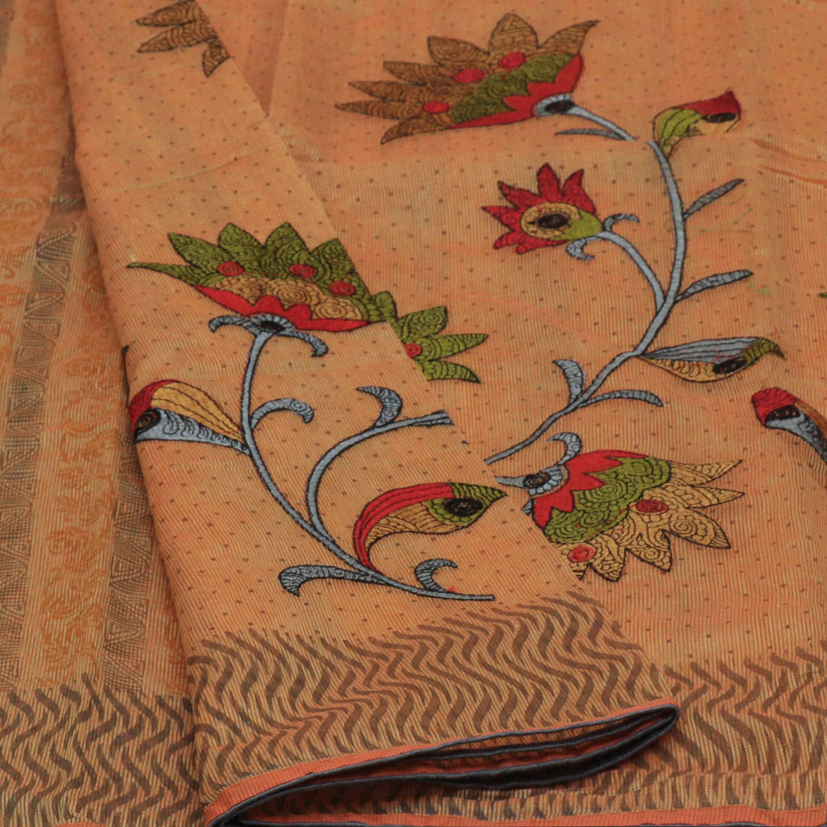 Kota Cotton Saree Light Yellow with Flower Embroidery and Wave Border