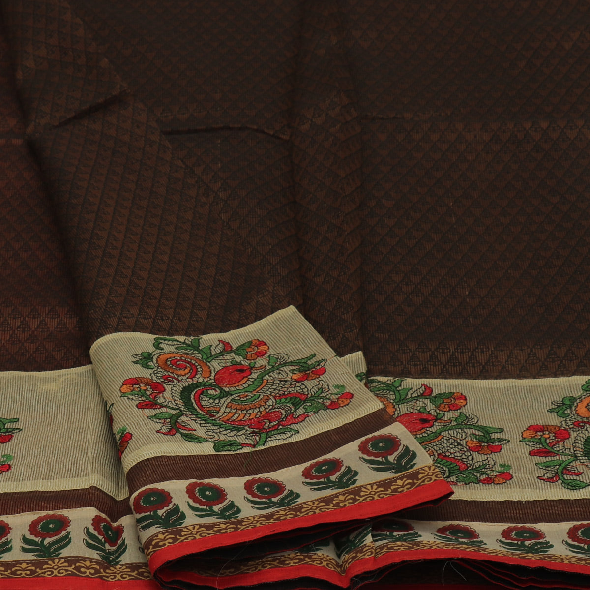 Kota Cotton Saree Brown with Annam Embroidery and Flower Border