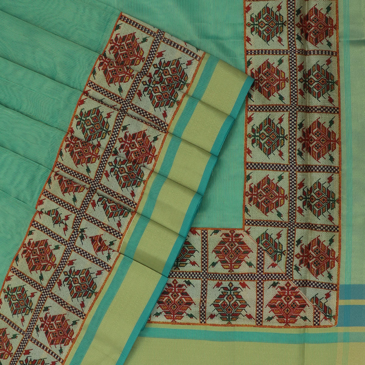 Tissue Saree Light Green with Printed design and zari Border for Rs.Rs. 1900.00 | Tissue Saree by Prashanti Sarees
