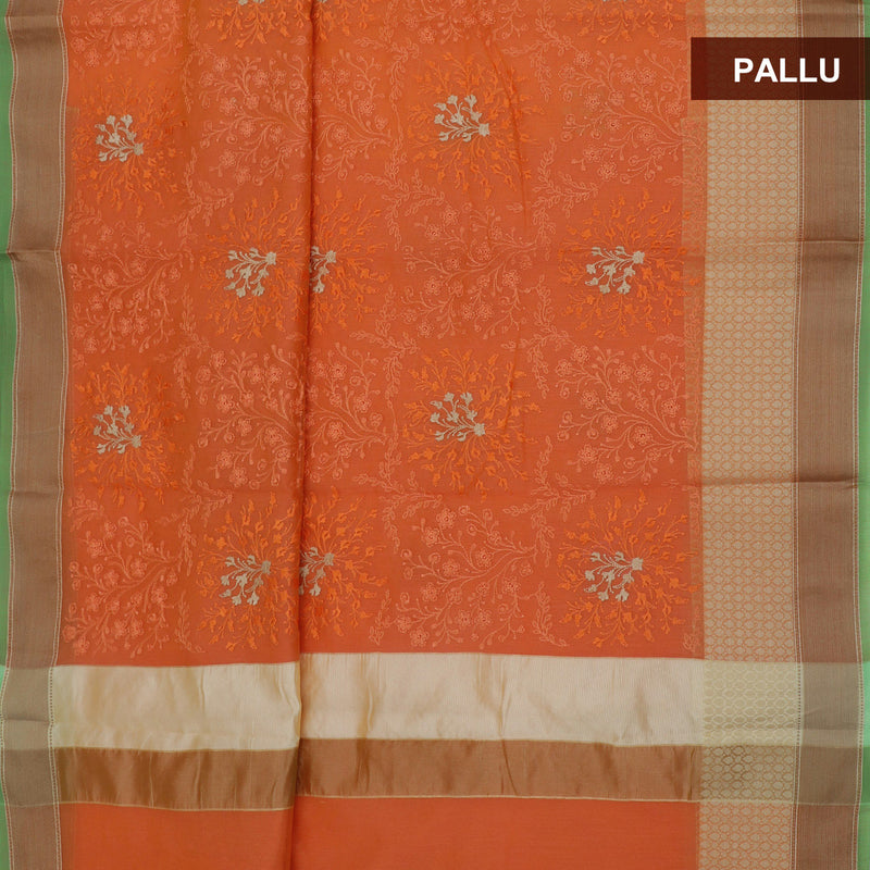 Kota Saree Orange with Flower Embroidery and Simple border