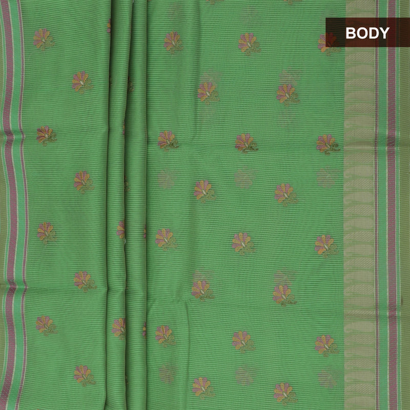 Kota Saree Light Green with Supernet Embroidery and Mango Border