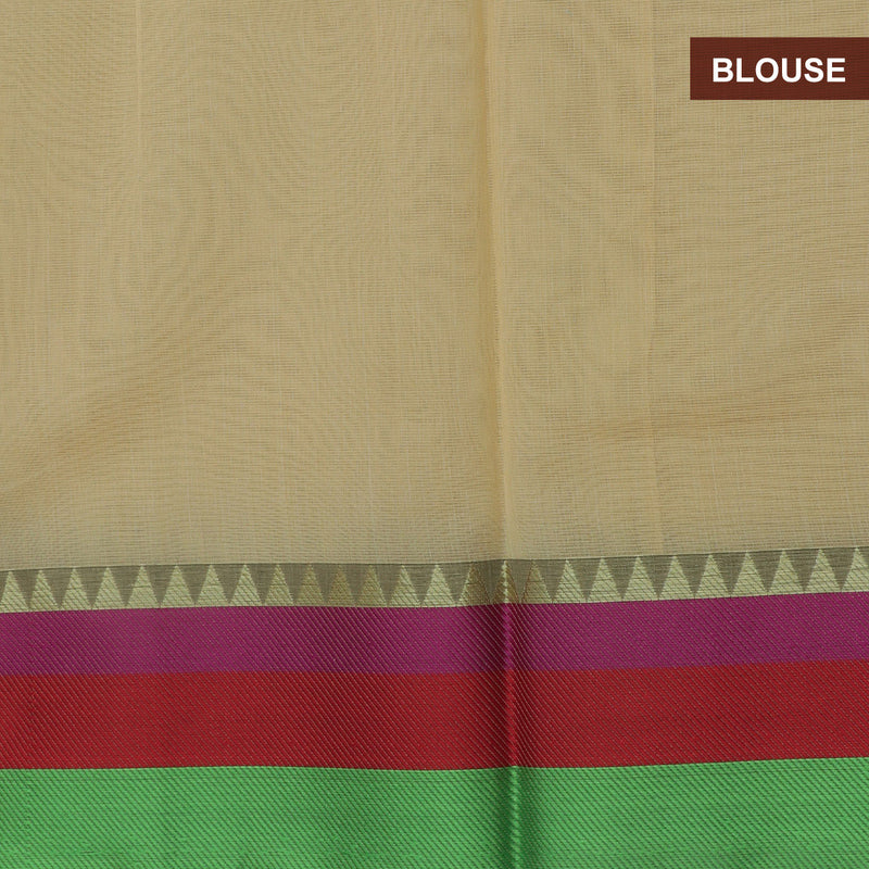 Kota Saree Beige and Parrot Green with Temple Zari Border