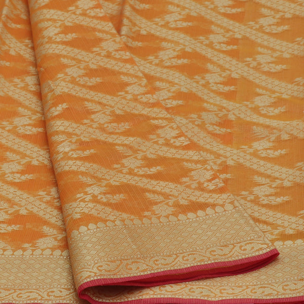 Kota Banarasi zari Saree Orange with Floral Zari Border