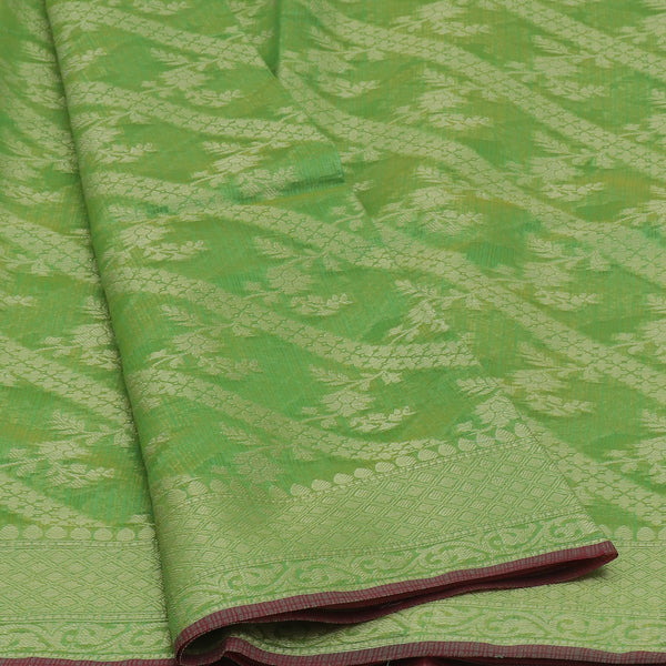 Kota Banarasi zari Saree light Green with Floral Zari Border
