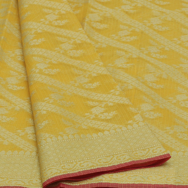 Kota Banarasi zari Saree Yellow with Floral Zari Border